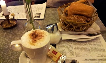 My delicious cappuccino and the bread basket