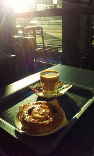 My Cortado Coffee and My Rosinenschnecke